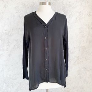 Dolan Button Down Front Mixed Media Black Top S